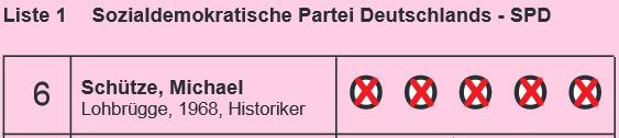 Auf der SPD-Wahlkreisliste können Sie mir auf Platz 6 fünf Stimmen geben.