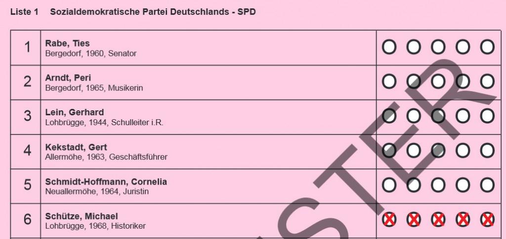 Auszug aus dem Musterstimmzettel der SPD für den Wahlkreis Bergedorf