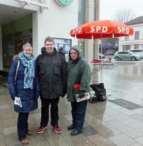 Unsere Landeslistenkandidatin Gabi Kaiser, Björn Polsfuß und Antje Probst-Kassner (von links).